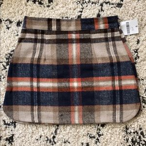 Flannel navy and taupe mini skirt